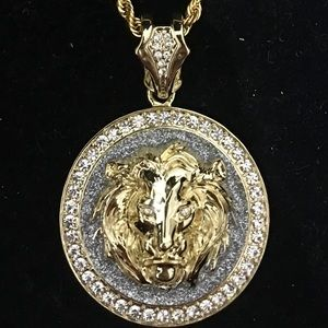 Other - BIG LION DIAMONDS cz 18K GOLD ROPE CHAIN ITALY